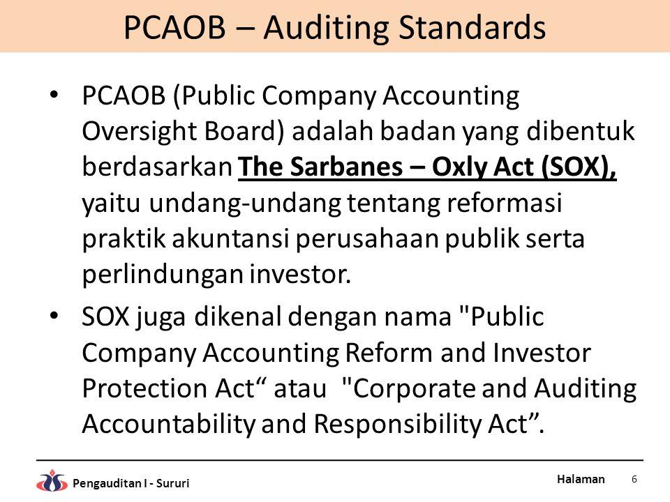 Halaman Pengauditan I - Sururi STANDAR AUDIT PCAOB B.Standar Pekerjaan Lapangan (Standards of Field Work) 1.Audit direncanakan secara cukup dan asisten aditor, jika ada, disupervisi secara tepat.