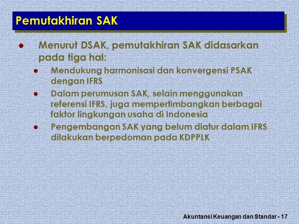 Akuntansi Keuangan dan Standar - 17 Pemutakhiran SAK Menurut DSAK, pemutakhiran SAK didasarkan pada tiga hal: Menurut DSAK, pemutakhiran SAK didasarkan pada tiga hal: Mendukung harmonisasi dan konvergensi PSAK dengan IFRS Mendukung harmonisasi dan konvergensi PSAK dengan IFRS Dalam perumusan SAK, selain menggunakan referensi IFRS, juga mempertimbangkan berbagai faktor lingkungan usaha di Indonesia Dalam perumusan SAK, selain menggunakan referensi IFRS, juga mempertimbangkan berbagai faktor lingkungan usaha di Indonesia Pengembangan SAK yang belum diatur dalam IFRS dilakukan berpedoman pada KDPPLK Pengembangan SAK yang belum diatur dalam IFRS dilakukan berpedoman pada KDPPLK