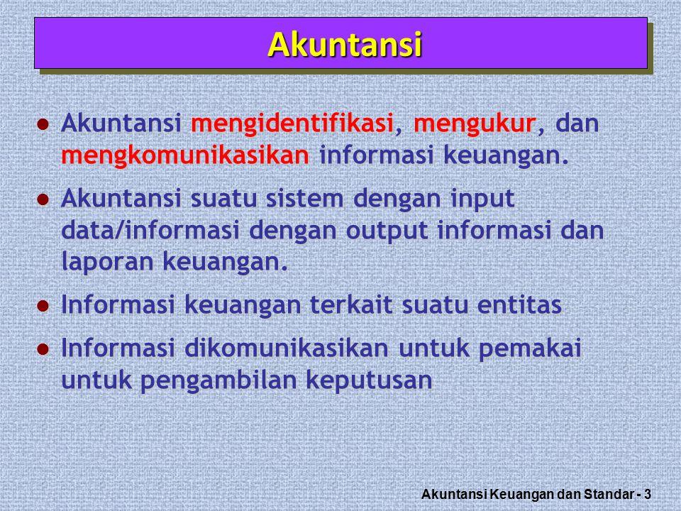 Akuntansi Keuangan dan Standar - 4 Akuntansi menghasilkan informasi keuangan tentang sebuah entitas.