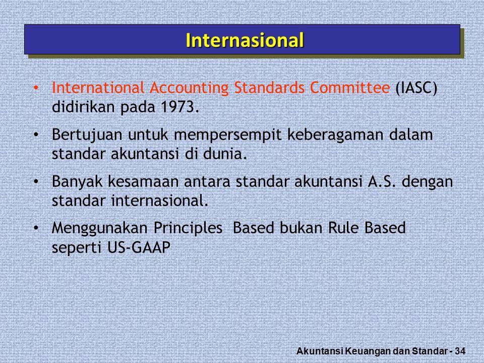 Akuntansi Keuangan dan Standar - 34 InternasionalInternasional International Accounting Standards Committee (IASC) didirikan pada 1973.