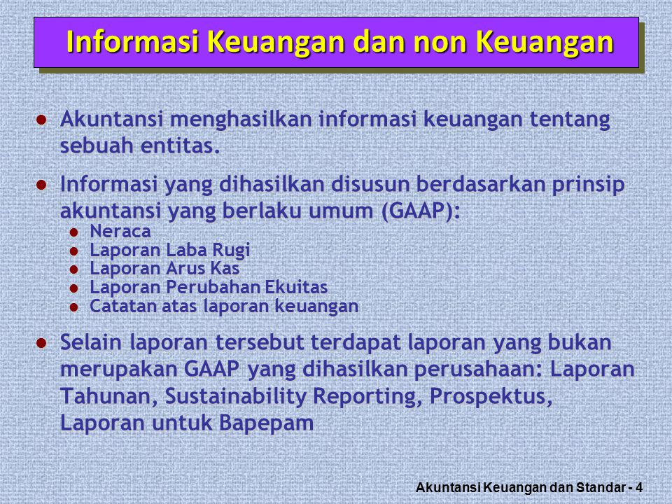 Akuntansi Keuangan dan Standar - 25 American Institute of CPAs National professional organization Established the following: LO 6 Committee on Accounting Procedures Accounting Principles Board 1939 to 1959 Issued 51 Accounting Research Bulletins (ARBs) Problem-by-problem approach failed 1959 to 1973 Issued 31 Accounting Principle Board Opinions (APBOs) Wheat Committee recommendations adopted in 1973 http://www.aicpa.org/ Ref: Kieso Weygant ed 13