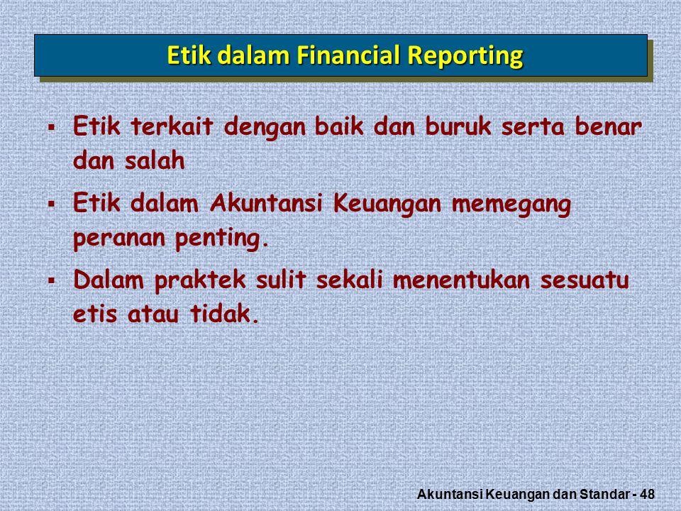 Akuntansi Keuangan dan Standar - 48 Etik dalam Financial Reporting  Etik terkait dengan baik dan buruk serta benar dan salah  Etik dalam Akuntansi Keuangan memegang peranan penting.