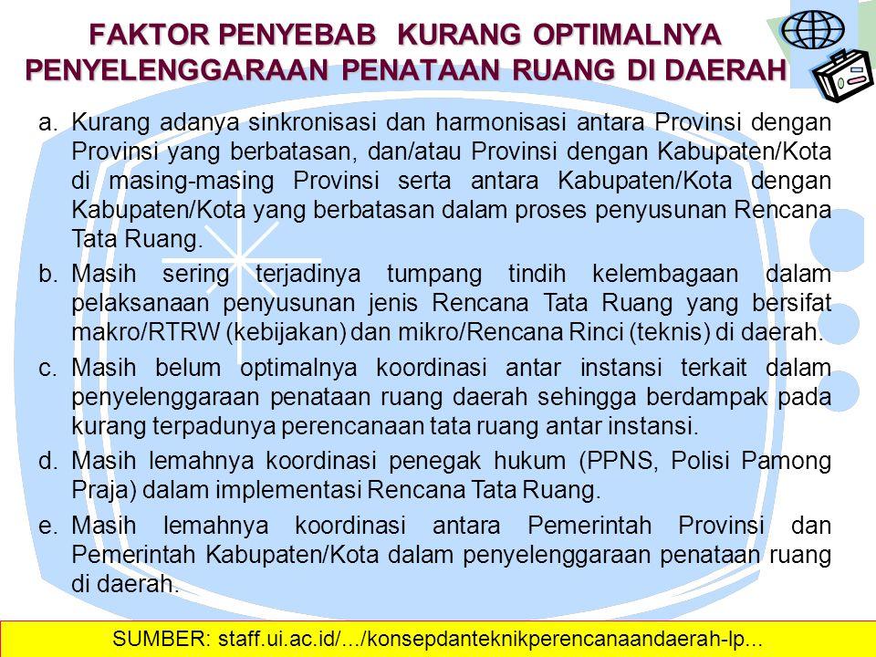 a.Disebagian daerah Provinsi, Kabupaten/Kota, penataan ruang belum mendapat proporsi perhatian utama sebagai instrumen dasar penyusunan Rencana Progra