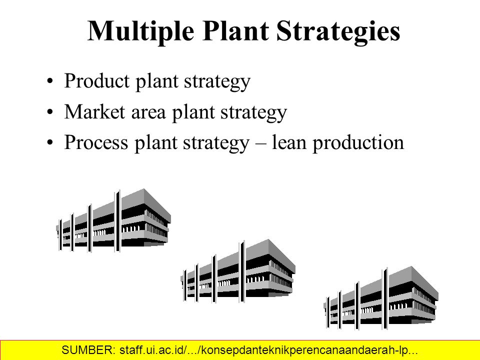 Product plant strategy Market area plant strategy Process plant strategy – lean production Multiple Plant Strategies SUMBER: staff.ui.ac.id/.../konsepdanteknikperencanaandaerah-lp...‎