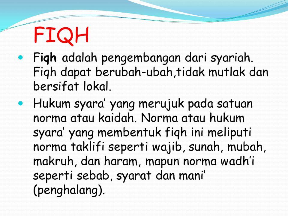 FIQH Fiqh adalah pengembangan dari syariah.