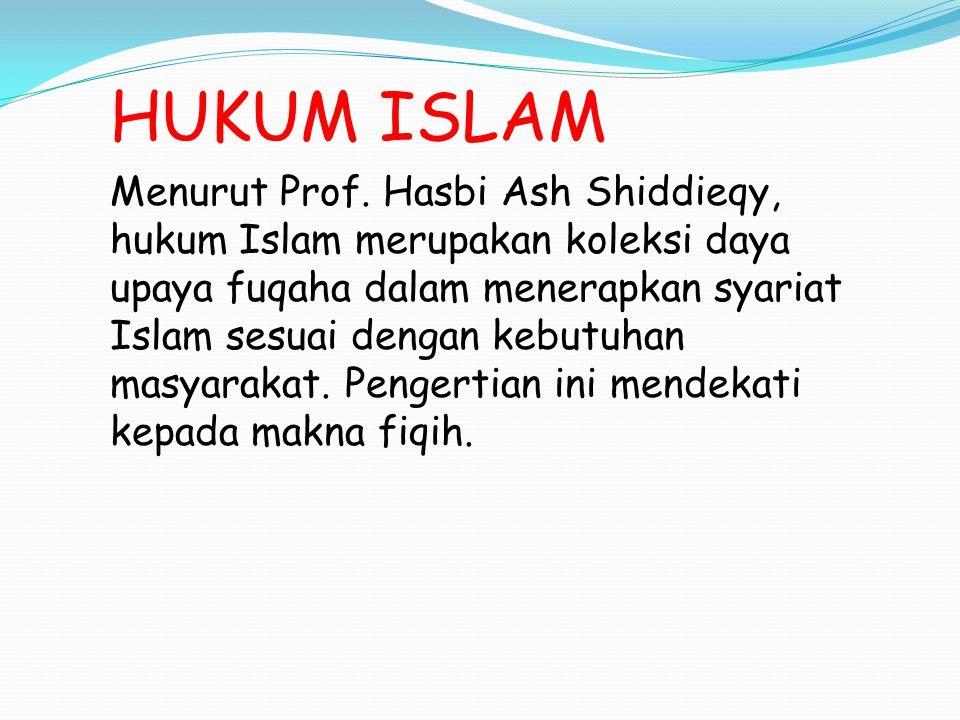 HUKUM ISLAM Hukum Islam adalah hukum yang ditetapkan Allah di dalam Al Quran, dijelaskan oleh Nabi dalam Hadis serta dikembangkan oleh ulama dalam ijtihad.