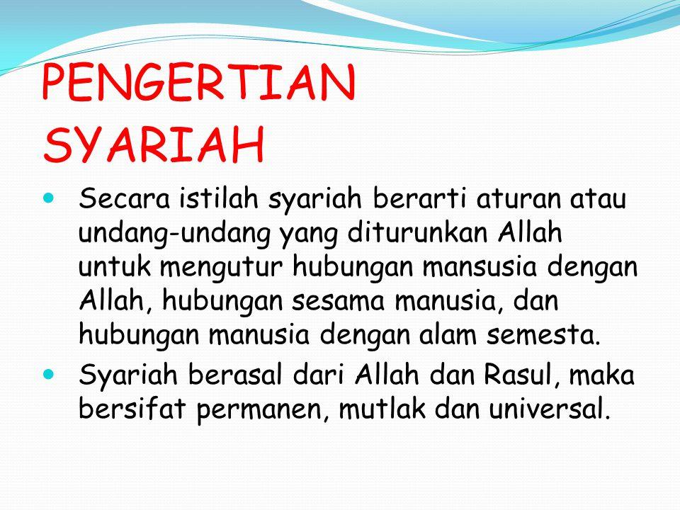 PERBEDAAN FIQH DENGAN SYARIAH Syariah bersifat abadi, fiqh dapat berubah, atau diubah.