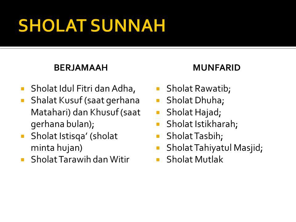 BERJAMAAH  Sholat Idul Fitri dan Adha,  Shalat Kusuf (saat gerhana Matahari) dan Khusuf (saat gerhana bulan);  Sholat Istisqa' (sholat minta hujan)