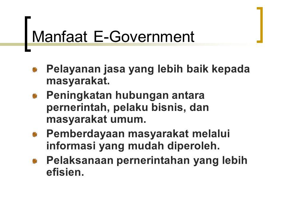 Manfaat E-Government Pelayanan jasa yang lebih baik kepada masyarakat. Peningkatan hubungan antara pernerintah, pelaku bisnis, dan masyarakat umum. Pe