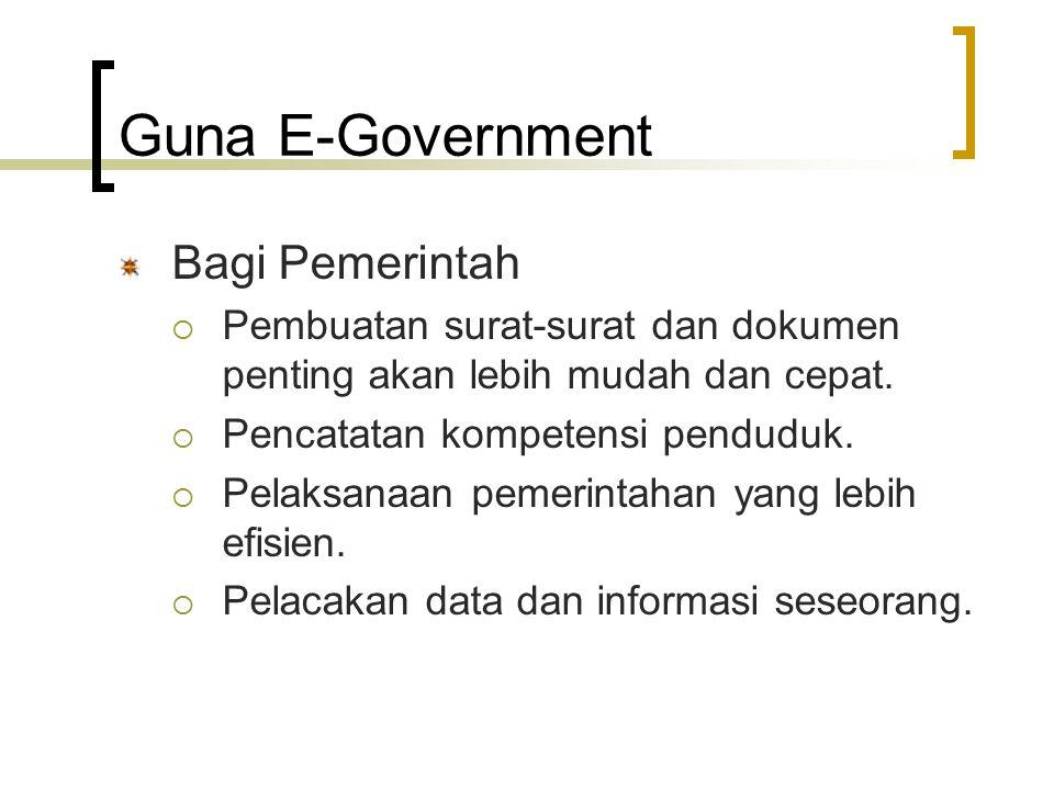 Guna E-Government Bagi Pemerintah  Pembuatan surat ‑ surat dan dokumen penting akan lebih mudah dan cepat.  Pencatatan kompetensi penduduk.  Pelaks