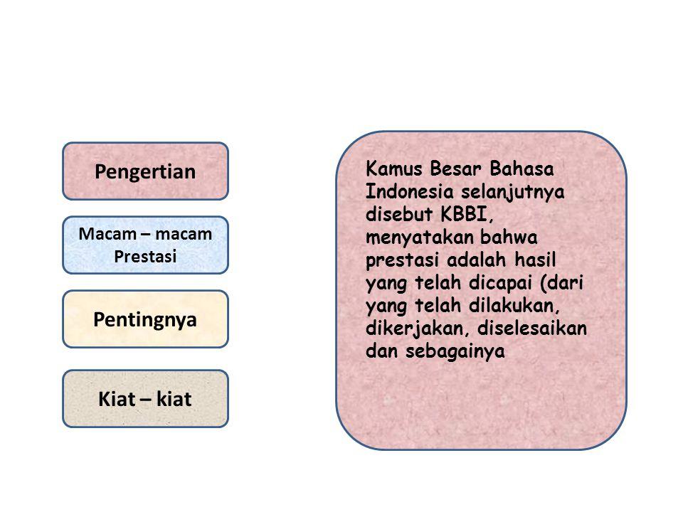 Pengertian Macam – macam Prestasi Pentingnya Kiat – kiat Kamus Besar Bahasa Indonesia selanjutnya disebut KBBI, menyatakan bahwa prestasi adalah hasil