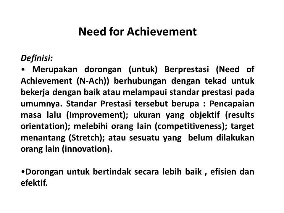 Need for Achievement Definisi: Merupakan dorongan (untuk) Berprestasi (Need of Achievement (N-Ach)) berhubungan dengan tekad untuk bekerja dengan baik