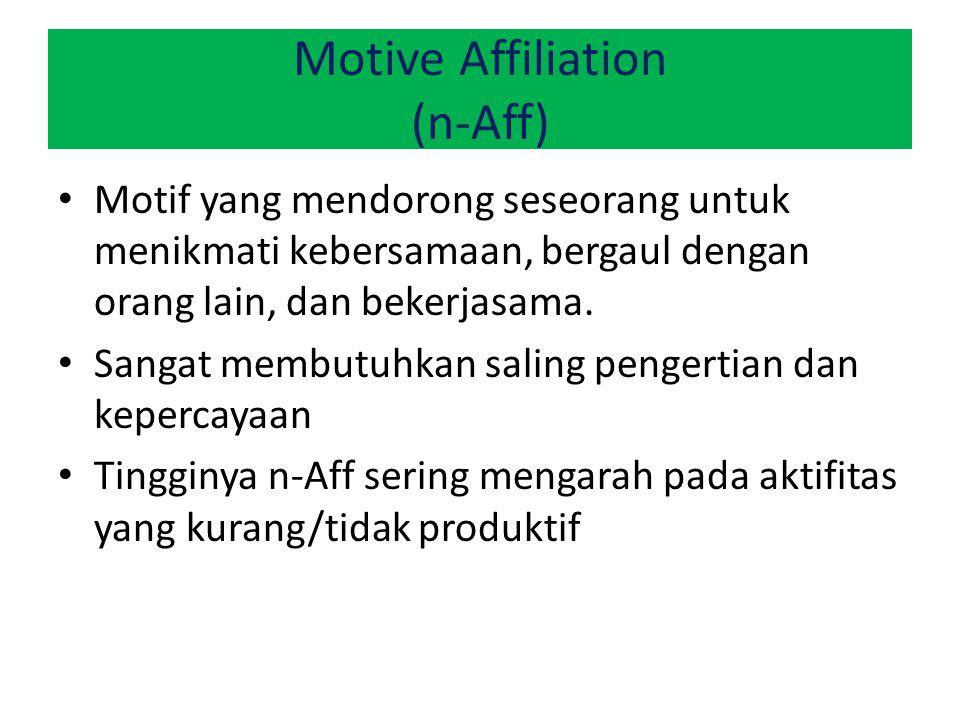 Motive Affiliation (n-Aff) Motif yang mendorong seseorang untuk menikmati kebersamaan, bergaul dengan orang lain, dan bekerjasama. Sangat membutuhkan