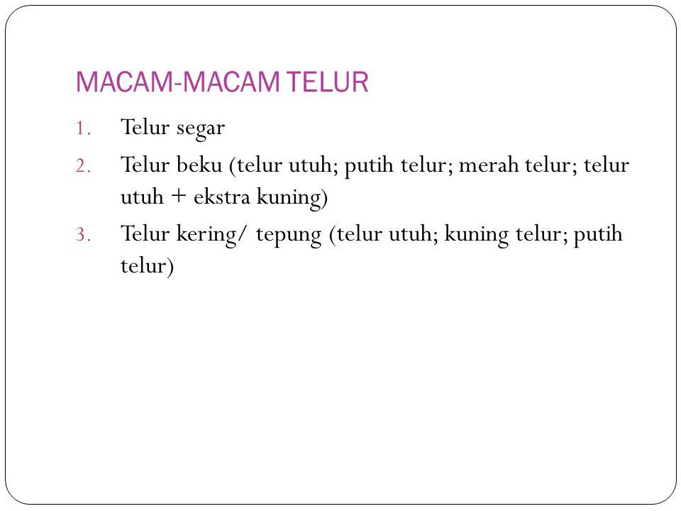 MACAM-MACAM TELUR 1.Telur segar 2.