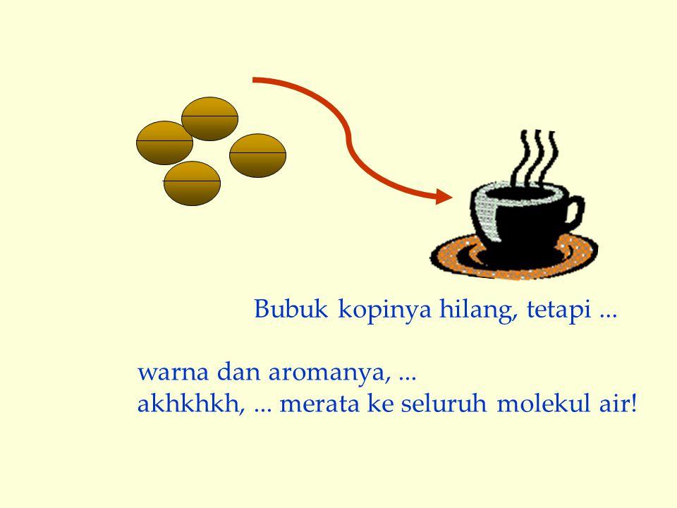 warna dan aromanya,... akhkhkh,... merata ke seluruh molekul air! Bubuk kopinya hilang, tetapi...