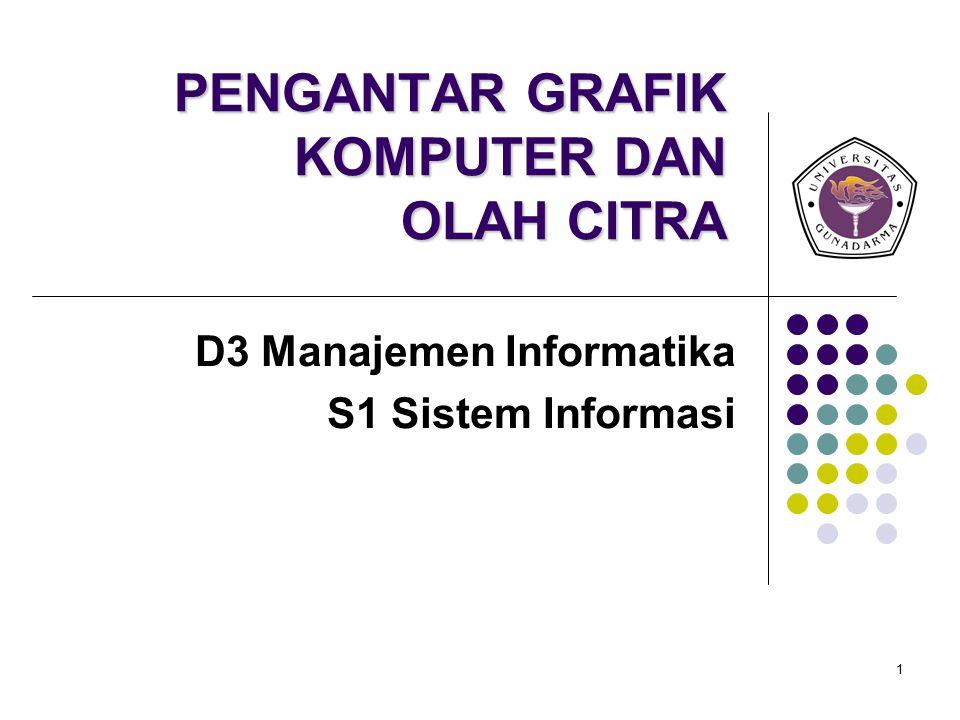 1 PENGANTAR GRAFIK KOMPUTER DAN OLAH CITRA D3 Manajemen Informatika S1 Sistem Informasi