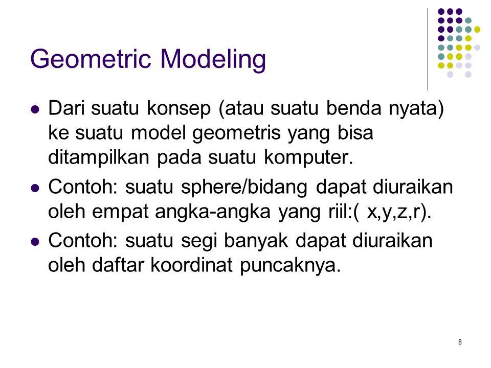 8 Geometric Modeling Dari suatu konsep (atau suatu benda nyata) ke suatu model geometris yang bisa ditampilkan pada suatu komputer. Contoh: suatu sphe