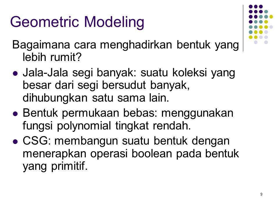 9 Geometric Modeling Bagaimana cara menghadirkan bentuk yang lebih rumit? Jala-Jala segi banyak: suatu koleksi yang besar dari segi bersudut banyak, d