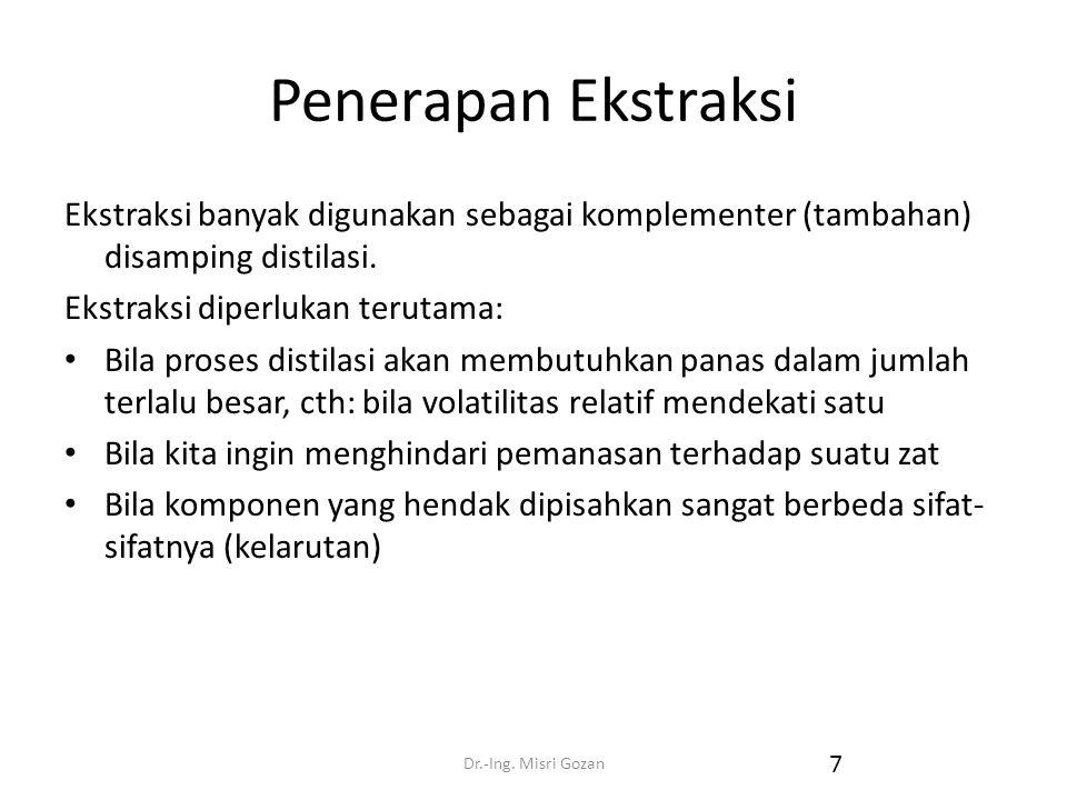 Dr.-Ing. Misri Gozan 7 Penerapan Ekstraksi Ekstraksi banyak digunakan sebagai komplementer (tambahan) disamping distilasi. Ekstraksi diperlukan teruta