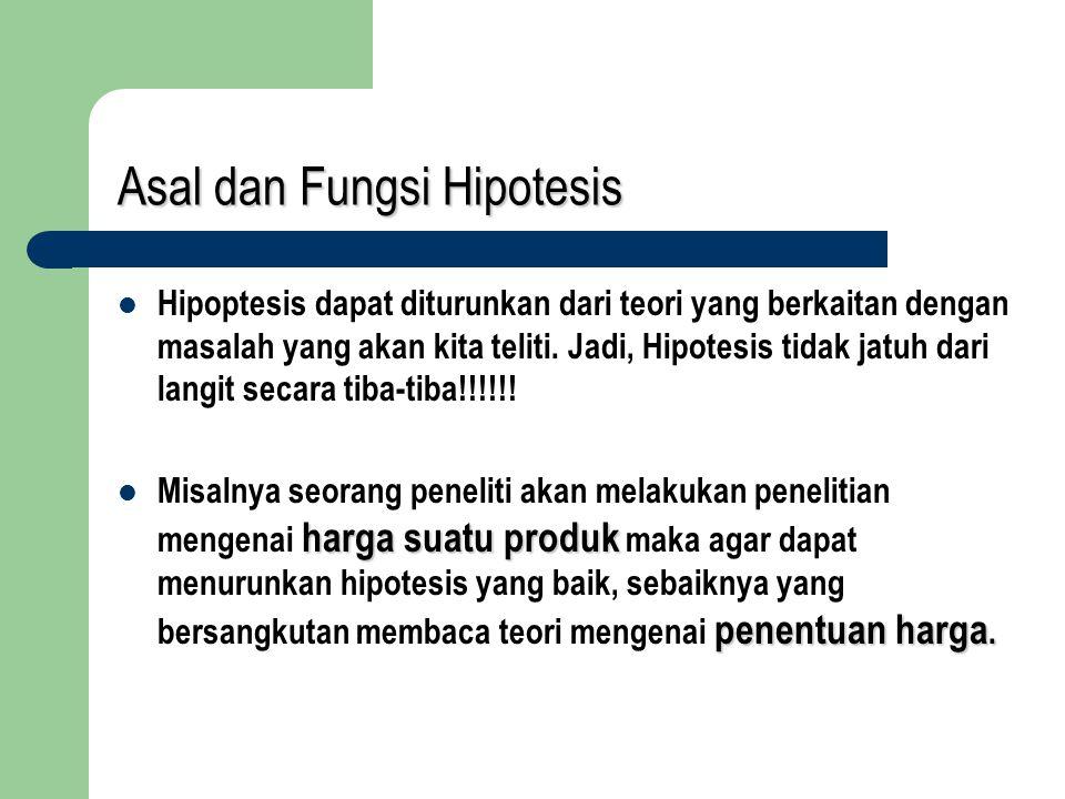 Asal dan Fungsi Hipotesis Hipoptesis dapat diturunkan dari teori yang berkaitan dengan masalah yang akan kita teliti. Jadi, Hipotesis tidak jatuh dari