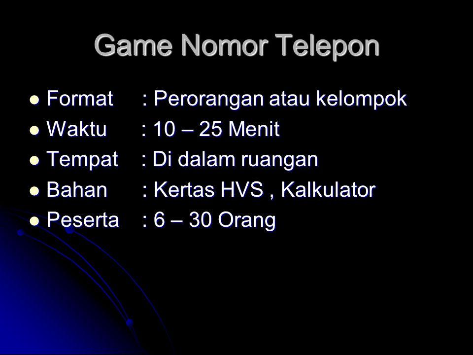 Game Nomor Telepon Format : Perorangan atau kelompok Format : Perorangan atau kelompok Waktu : 10 – 25 Menit Waktu : 10 – 25 Menit Tempat : Di dalam r