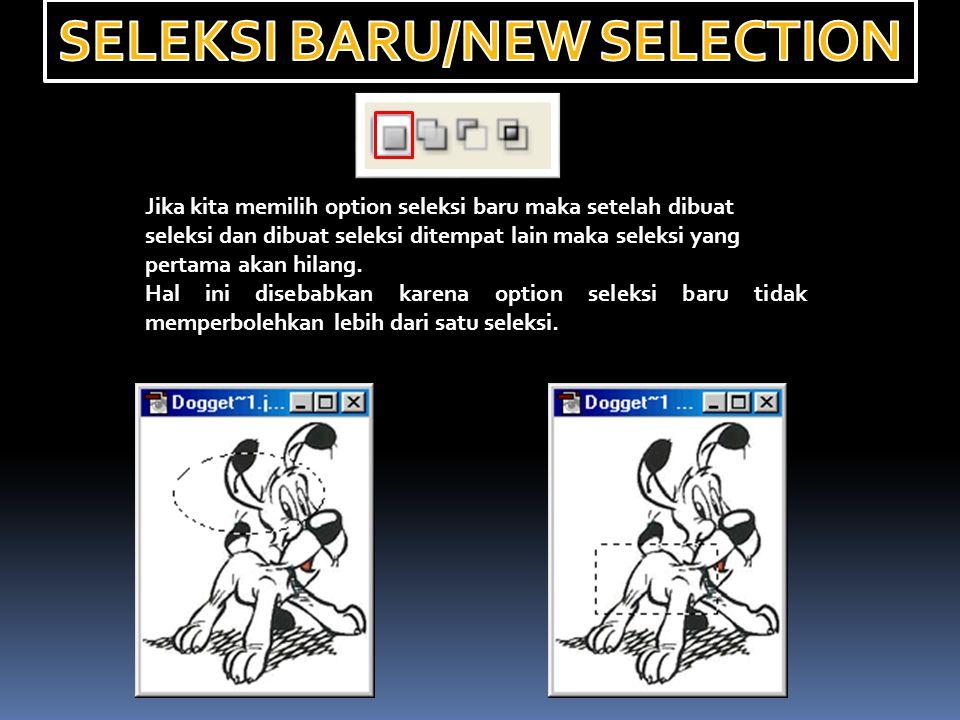 Jika kita memilih option seleksi baru maka setelah dibuat seleksi dan dibuat seleksi ditempat lain maka seleksi yang pertama akan hilang. Hal ini dise