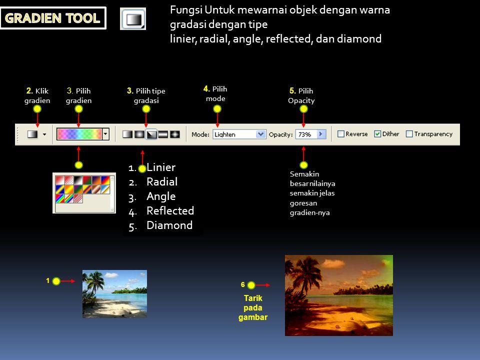  Untuk mengisi (FIIL) objek dengan warna yang telah dipilih.