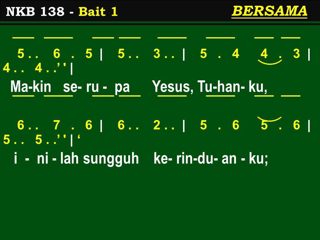 1>..7. 2> | 1>.. 3. 5 | 5. 4 4. 3 | 4.. 4..' | Ma-kin ber-sa- bar, lembut dan me-ren-dah, 6..
