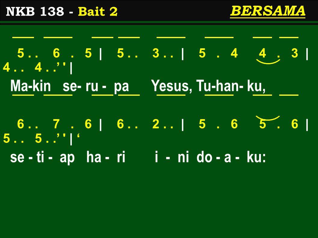 1>..7. 2> | 1>.. 3. 5 | 5. 4 4. 3 | 4.. 4..' | Ma-kin ber-gi - at men-ja - di mu- rid-Nya, 6..