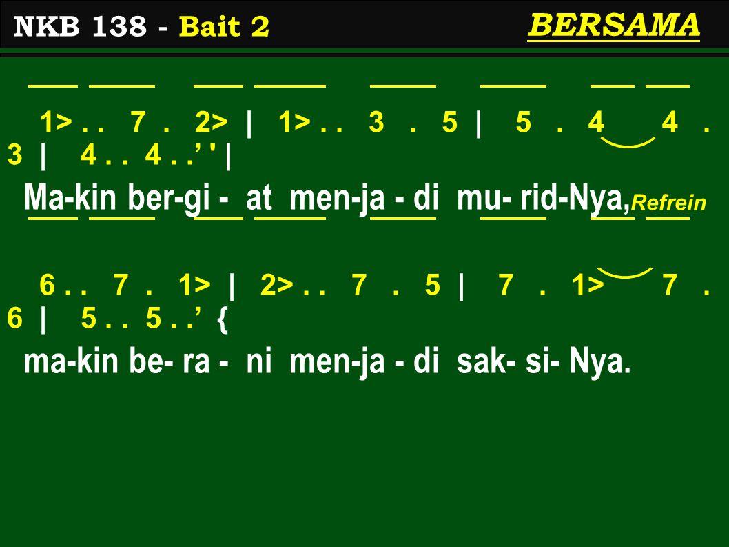 1>.. 7. 2> | 1>.. 3. 5 | 5. 4 4. 3 | 4.. 4..' ' | Ma-kin ber-gi - at men-ja - di mu- rid-Nya, 6.. 7. 1> | 2>.. 7. 5 | 7. 1> 7. 6 | 5.. 5..' { ma-kin b