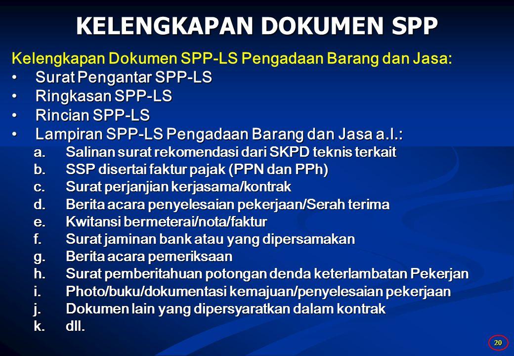 20 KELENGKAPAN DOKUMEN SPP Kelengkapan Dokumen SPP-LS Pengadaan Barang dan Jasa: Surat Pengantar SPP-LSSurat Pengantar SPP-LS Ringkasan SPP-LSRingkasan SPP-LS Rincian SPP-LSRincian SPP-LS Lampiran SPP-LS Pengadaan Barang dan Jasa a.l.:Lampiran SPP-LS Pengadaan Barang dan Jasa a.l.: a.