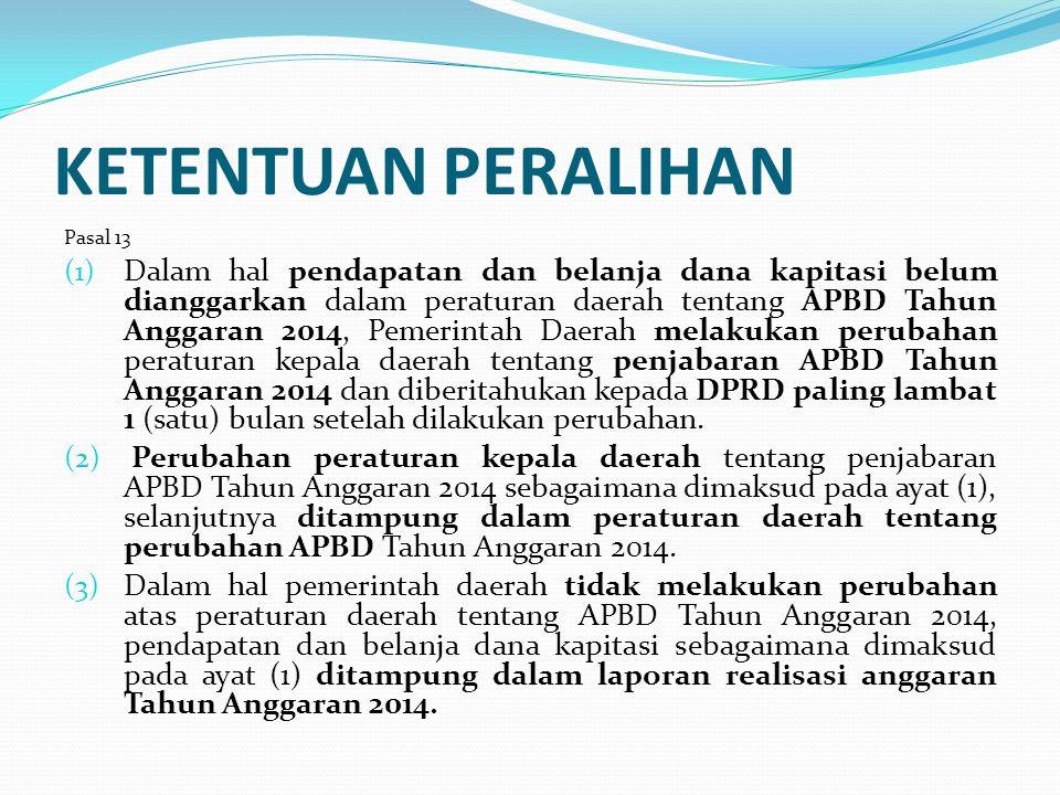 Permenkes RI No 19/2014 ttg Penggunaan Dana Kapitasi JKN untuk Jasa Pelayanan Kesehatan & Dukungan Biaya Operasional Pada FKTP Milik Pemda