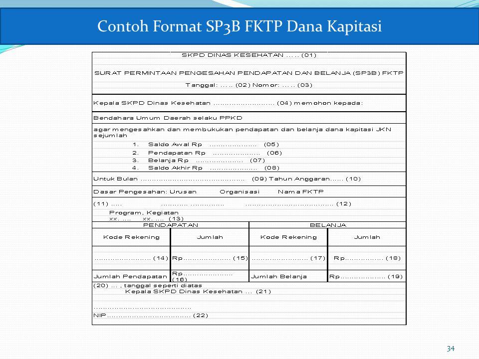 35 (01) Diisi uraian nama SKPD Kesehatan Provinsi/Kabupaten/Kota; (02)Diisi tanggal SP3B FKTP; (03) Diisi nomor SP3B FKTP; (04) Diisi nama SKPD Kesehatan Provinsi/Kabupaten/Kota; (05) Diisi jumlah saldo akhir pada SP2B FKTP bulan sebelumnya.