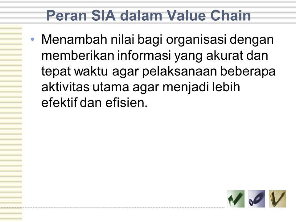 Peran SIA dalam Value Chain Menambah nilai bagi organisasi dengan memberikan informasi yang akurat dan tepat waktu agar pelaksanaan beberapa aktivitas utama agar menjadi lebih efektif dan efisien.