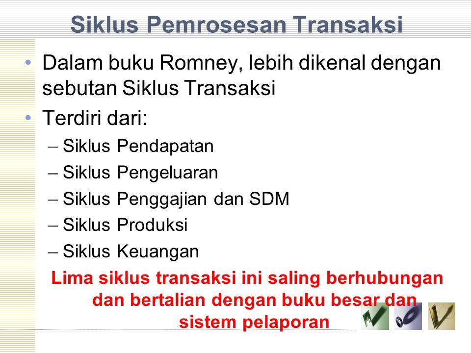 Siklus Pemrosesan Transaksi Dalam buku Romney, lebih dikenal dengan sebutan Siklus Transaksi Terdiri dari: –Siklus Pendapatan –Siklus Pengeluaran –Siklus Penggajian dan SDM –Siklus Produksi –Siklus Keuangan Lima siklus transaksi ini saling berhubungan dan bertalian dengan buku besar dan sistem pelaporan