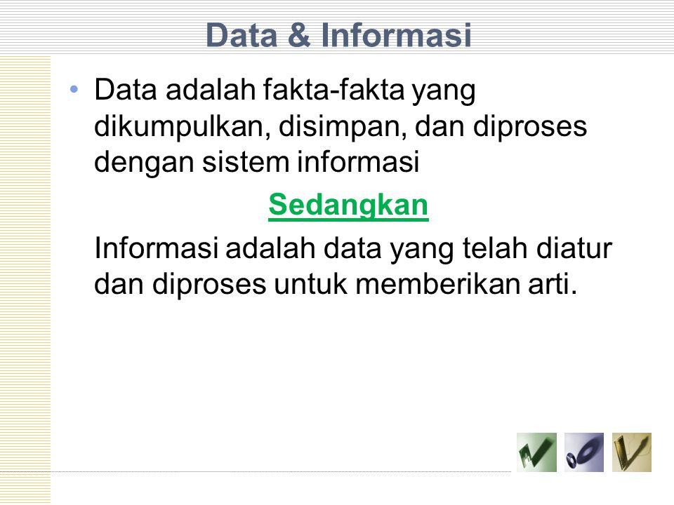 Data & Informasi Data adalah fakta-fakta yang dikumpulkan, disimpan, dan diproses dengan sistem informasi Sedangkan Informasi adalah data yang telah diatur dan diproses untuk memberikan arti.