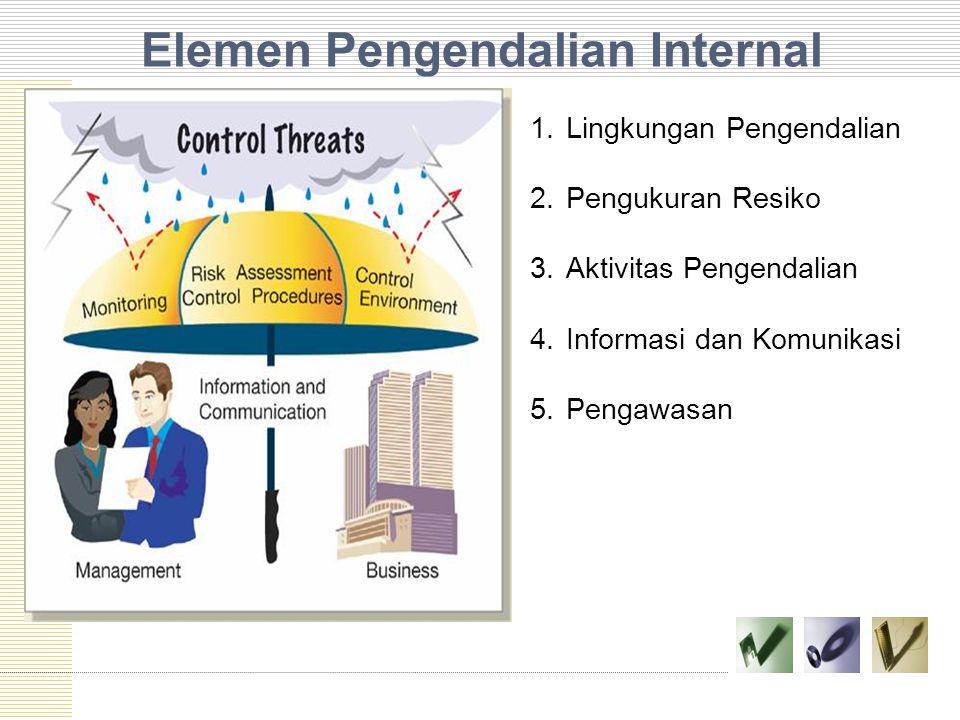 Elemen Pengendalian Internal 1.Lingkungan Pengendalian 2.Pengukuran Resiko 3.Aktivitas Pengendalian 4.Informasi dan Komunikasi 5.Pengawasan