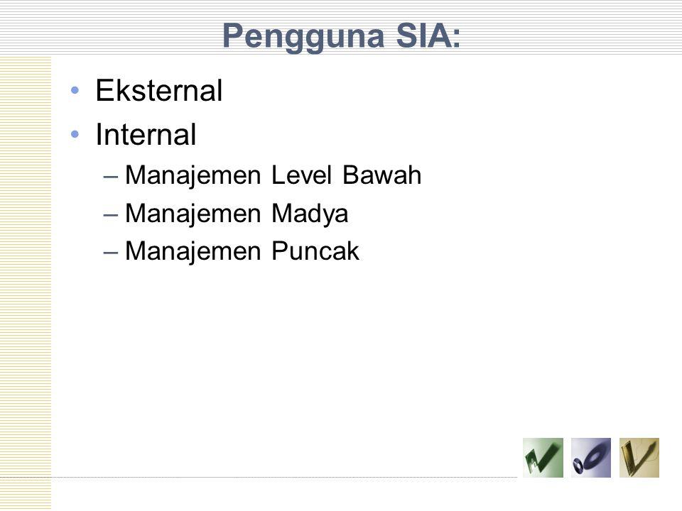 Pengguna SIA: Eksternal Internal –Manajemen Level Bawah –Manajemen Madya –Manajemen Puncak