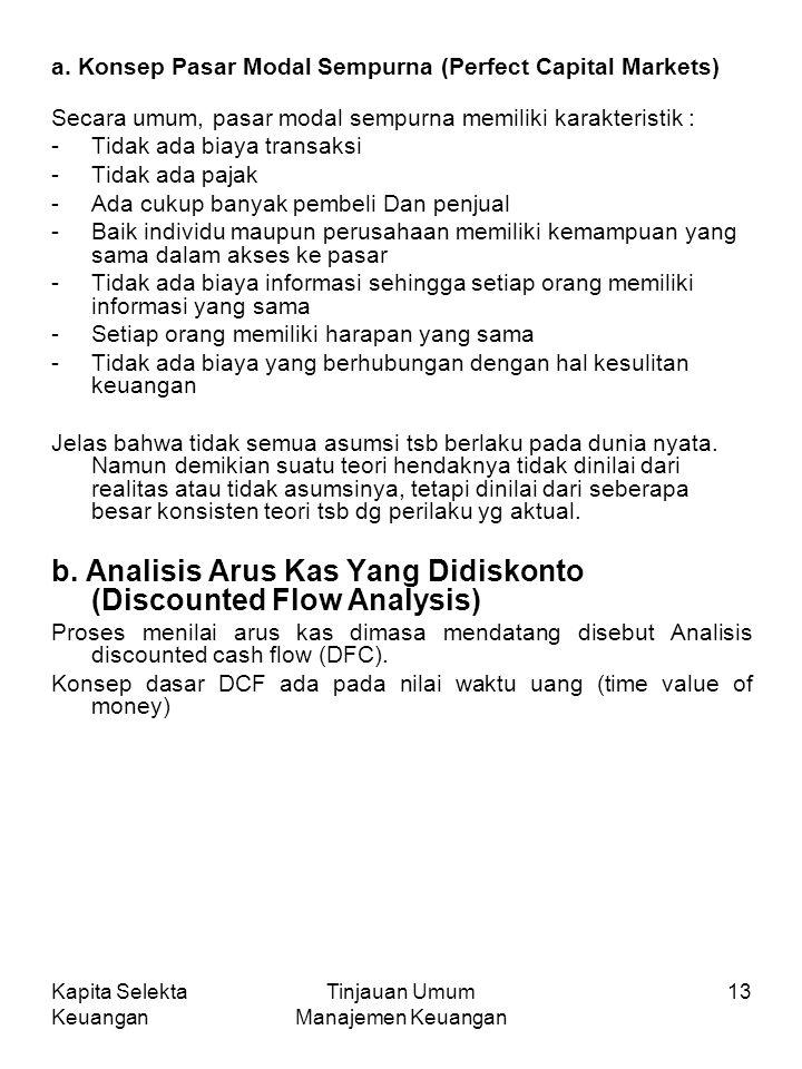 Kapita Selekta Keuangan Tinjauan Umum Manajemen Keuangan 13 a.