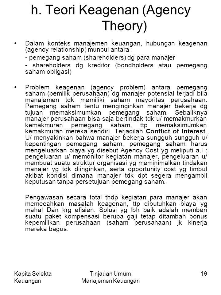 Kapita Selekta Keuangan Tinjauan Umum Manajemen Keuangan 19 h.