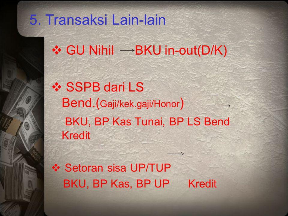 5. Transaksi Lain-lain  GU Nihil BKU in-out(D/K)  SSPB dari LS Bend.( Gaji/kek.gaji/Honor ) BKU, BP Kas Tunai, BP LS Bend Kredit  Setoran sisa UP/T