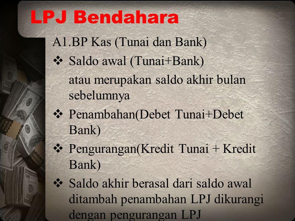 LPJ Bendahara A1.BP Kas (Tunai dan Bank)  Saldo awal (Tunai+Bank) atau merupakan saldo akhir bulan sebelumnya  Penambahan(Debet Tunai+Debet Bank) 