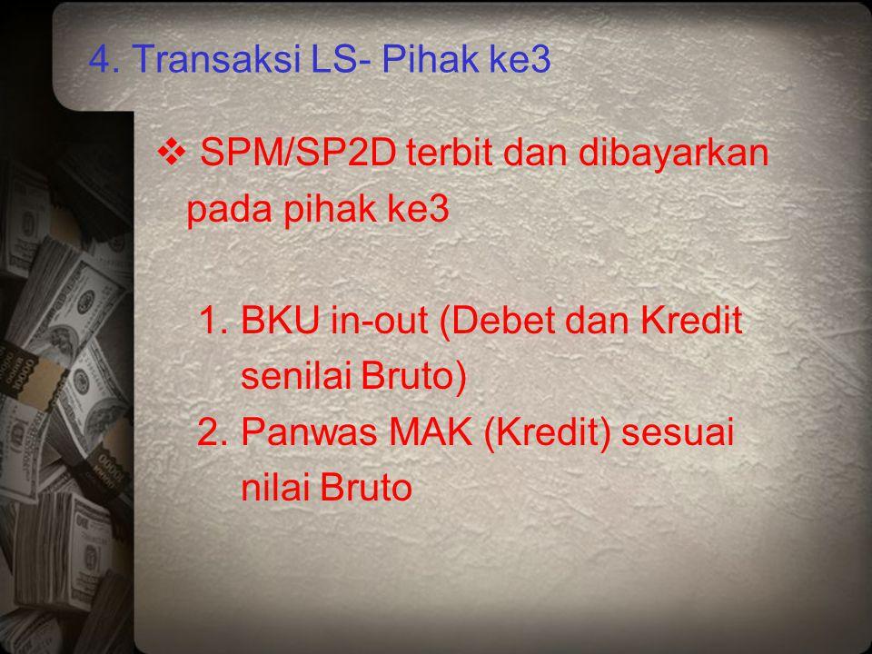 4. Transaksi LS- Pihak ke3  SPM/SP2D terbit dan dibayarkan pada pihak ke3 1. BKU in-out (Debet dan Kredit senilai Bruto) 2. Panwas MAK (Kredit) sesua