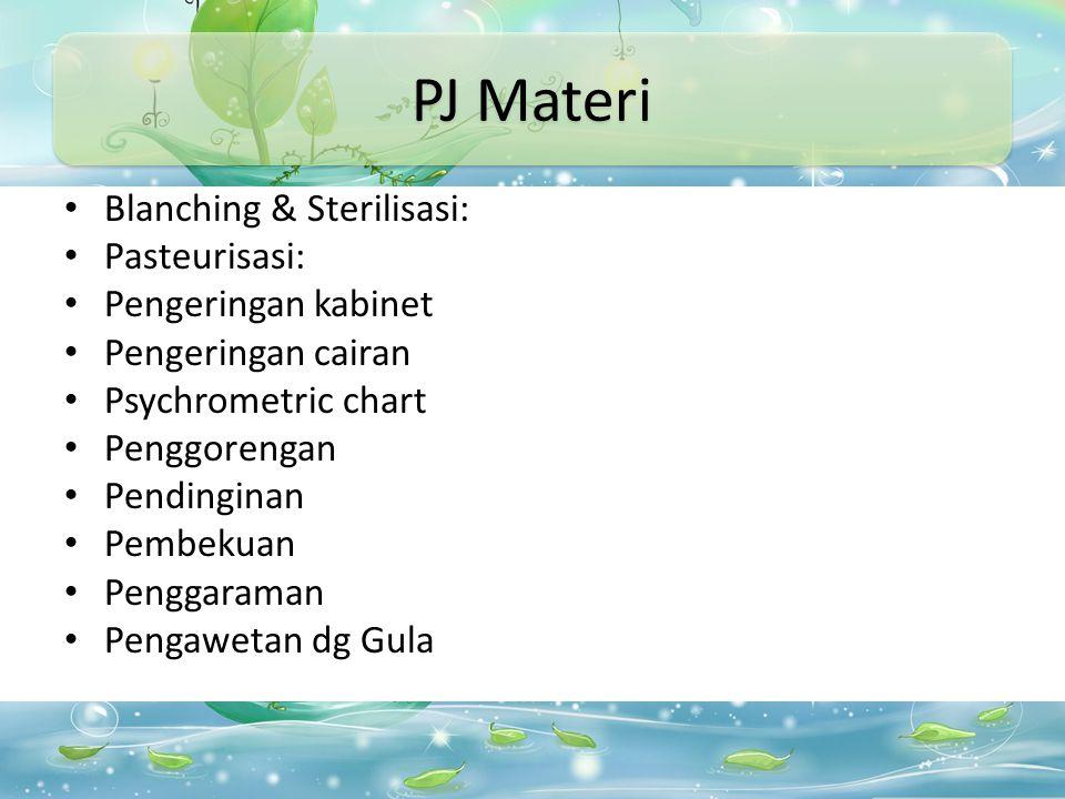 PJ Materi Blanching & Sterilisasi: Pasteurisasi: Pengeringan kabinet Pengeringan cairan Psychrometric chart Penggorengan Pendinginan Pembekuan Penggaraman Pengawetan dg Gula