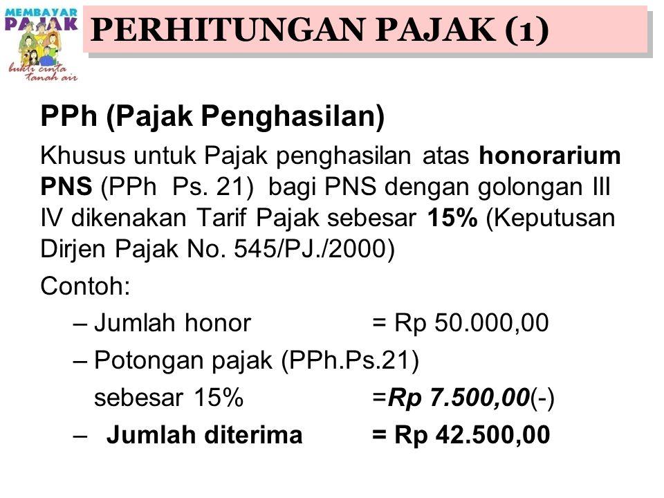 PPh (Pajak Penghasilan) Khusus untuk Pajak penghasilan atas honorarium PNS (PPh Ps.