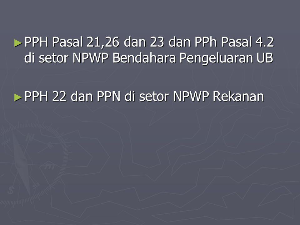 ► PPH Pasal 21,26 dan 23 dan PPh Pasal 4.2 di setor NPWP Bendahara Pengeluaran UB ► PPH 22 dan PPN di setor NPWP Rekanan