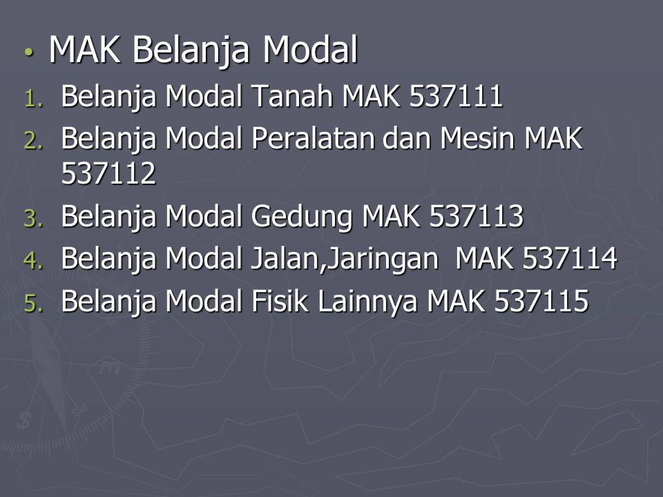 MAK Belanja Modal MAK Belanja Modal 1. Belanja Modal Tanah MAK 537111 2. Belanja Modal Peralatan dan Mesin MAK 537112 3. Belanja Modal Gedung MAK 5371
