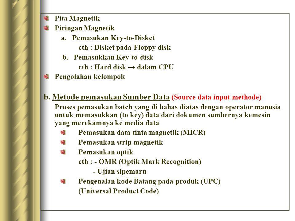 Pita Magnetik Piringan Magnetik a. Pemasukan Key-to-Disket cth : Disket pada Floppy disk b. Pemasukkan Key-to-disk cth : Hard disk → dalam CPU Pengola