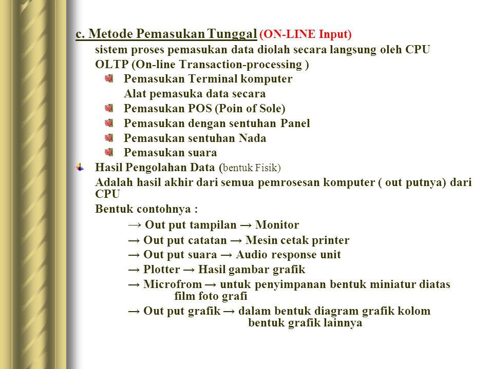 c. Metode Pemasukan Tunggal (ON-LINE Input) sistem proses pemasukan data diolah secara langsung oleh CPU OLTP (On-line Transaction-processing ) Pemasu