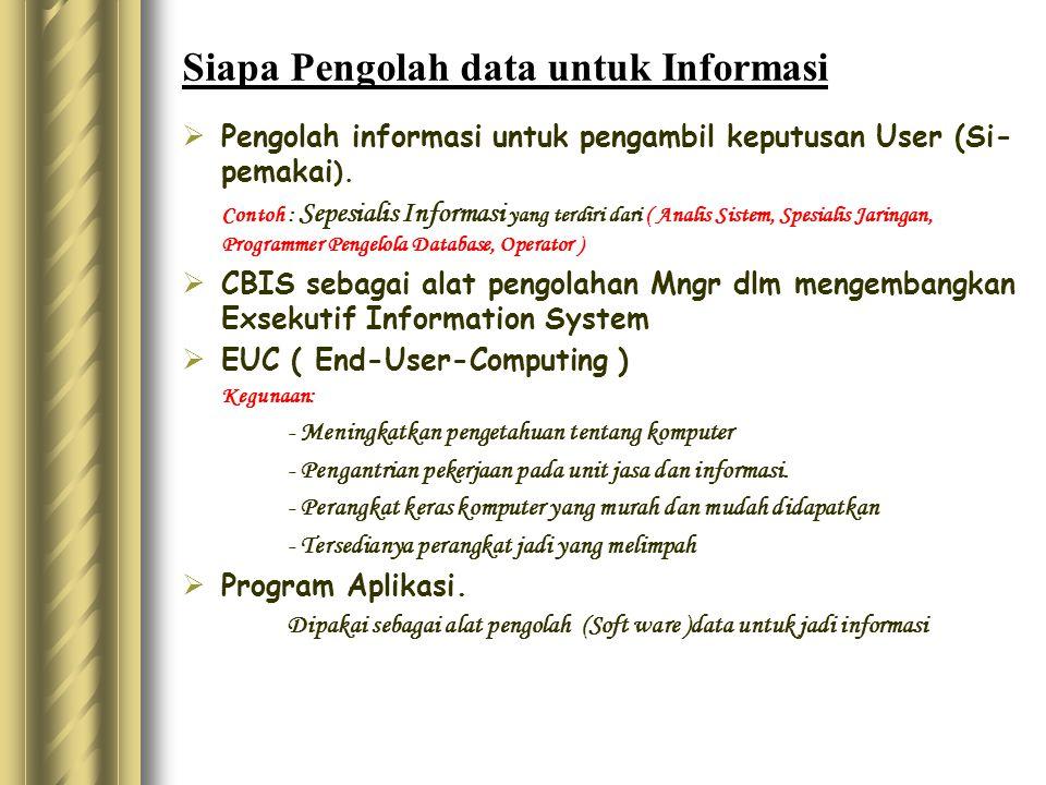 Siapa Pengolah data untuk Informasi  Pengolah informasi untuk pengambil keputusan User (Si- pemakai ). Contoh : Sepesialis Informasi yang terdiri dar